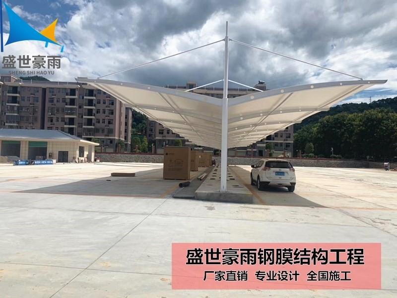石河子钢结构价格膜布停车棚骨架透明用pro减速绘制箱图片