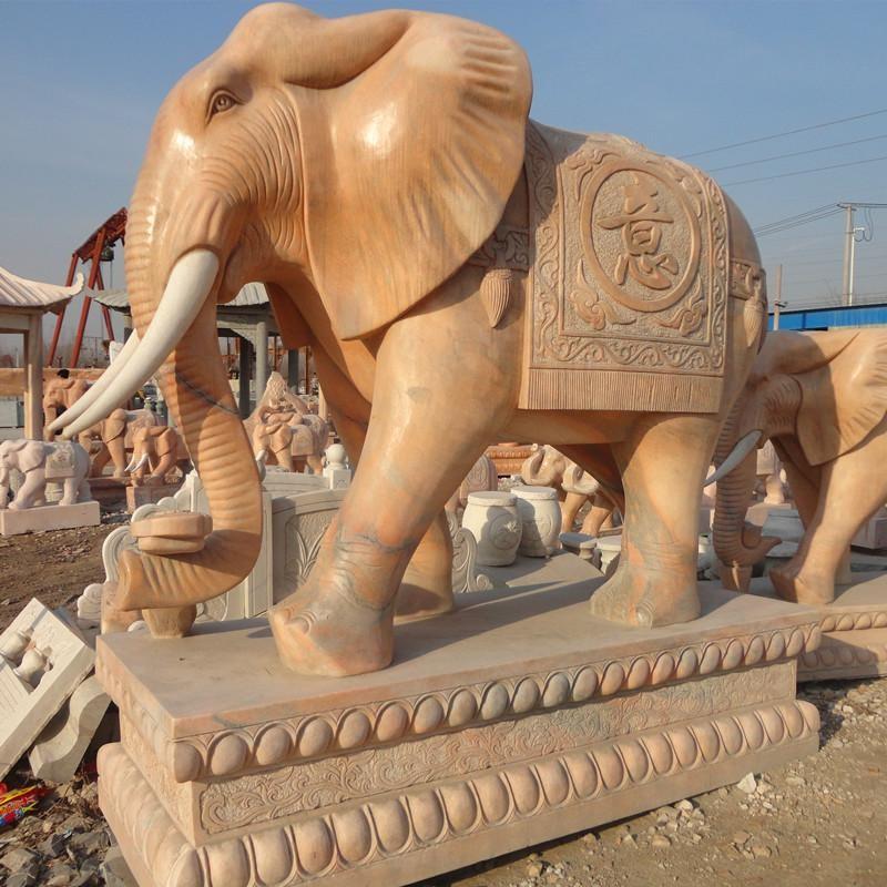 東方大理石大象-景區門口石象可塑性強銀雅雕塑